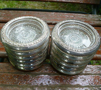 12 Fancy Floral Sterling Silver Rim Glass Drink Coasters STC