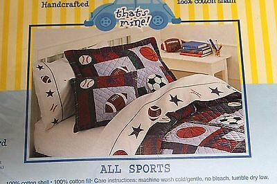New ALL SPORTS Quilted Standard Pillow Sham Embroidered Applique Football Soccer