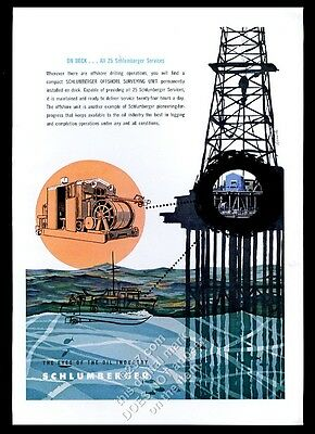 1956 Schlumberger oil well offshore derrick surveying unit art vintage print ad