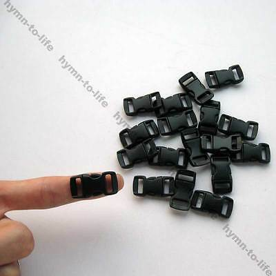 "100 pcs Mini Black plastic Arced Buckles Apply to 3/8"" Bracelets belt M067B-10"