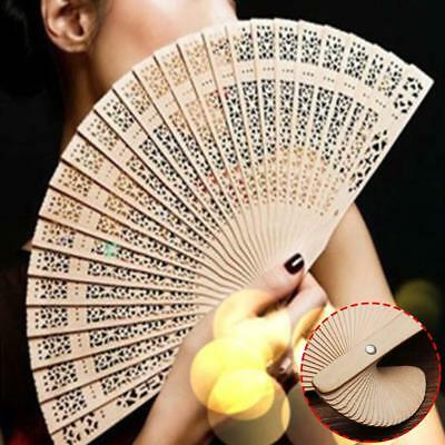 Wedding Hand Fragrant Party Carved Bamboo Folding Fan Chinese Style Wooden BS
