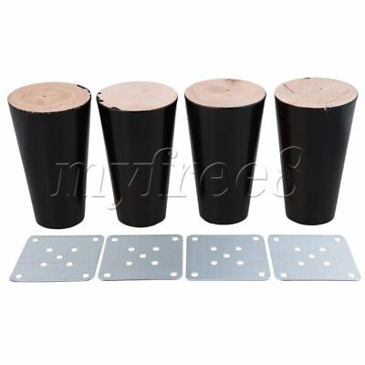 4x 10cm High Black Eucalyptus Wooden Furniture Legs for Sofa Chair