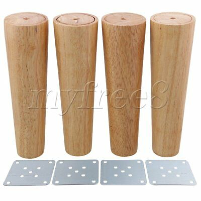 4Pieces 20cm Height Tapered Wood Furniture Legs Sofa Feet Wood Color