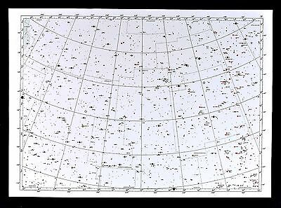 """1950 Star Map Chart Hercules Bootes Canes Venatici Constellation Universe 16x23"""""""