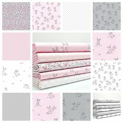 Hello Little Bunny - Bunnies and Bows 100% Cotton Fabric Pink Grey White