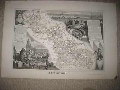 Antique 1856 Nord Dunkirk Lille France Levasseur Masterpiece Handcolored Map Nr
