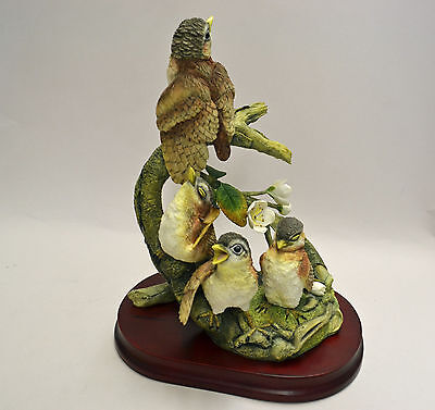 """""""FLEDGLING WRENS"""" BIRD FIGURINE, Brand New, Hand-Painted, 7"""" H.  MINT With BOX"""
