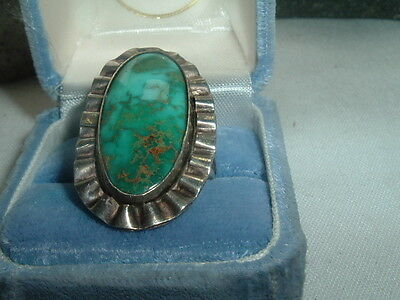 Vintage Old Pawn Turquoise And Sterling Silver Ring Sz 8.25 In Ring Box