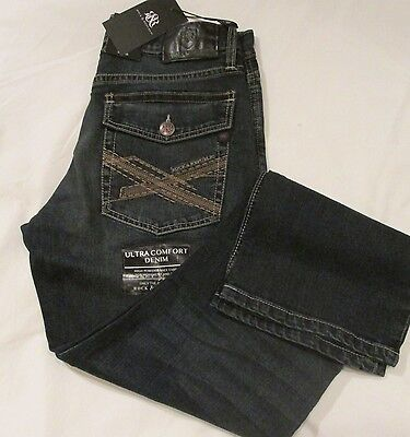 Rock & Republic Men's Distressed Straight Fit Blue Denim Jeans 30 32 33 34 36 38