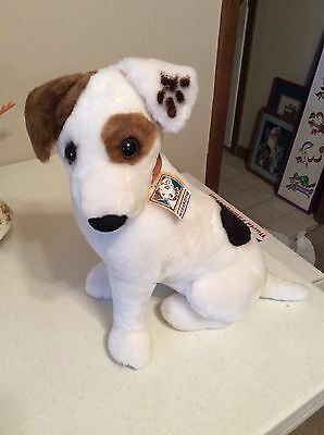 """Wishbone Dog Plush 1996 14"""" Tall Jack Russell Terrier W/Tags Talks Squeeze His N"""