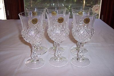 Set of 6 Cris D'Arques/Durand Longchamp Water Goblets