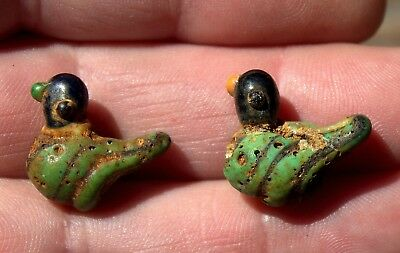 2 Very Old Phoenician Glass Duck Beads LOT With Centuries Old Encrusted Dirt