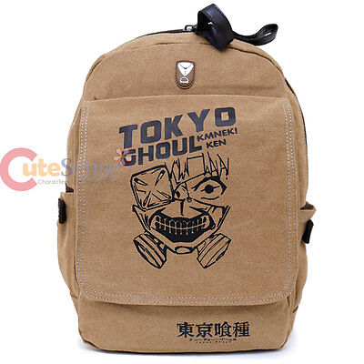 "Tokyo Ghoul Large School Backpack Canvas Anime Costume 16"" Bag Beige Ken Mask"