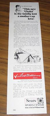 1971 Print Ad Sears Chalet Family Tents Ted Williams Says