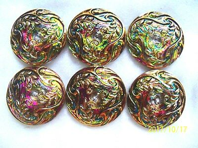 "REDUCED  CZECH GLASS BUTTONS (6 pcs) 1""- 27mm  OLD STOCK 003"
