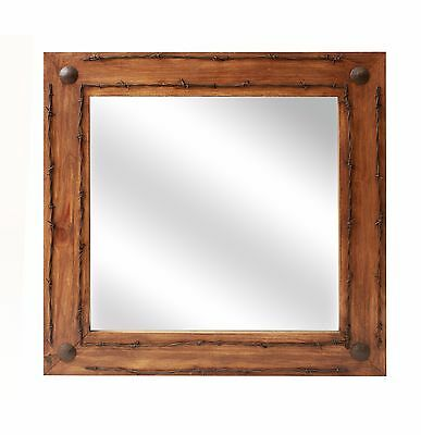 Old Ranch Rustic Barbed Wire Mirror-Mexican-28x28 in-Wood-Wall-Bathroom Vanity