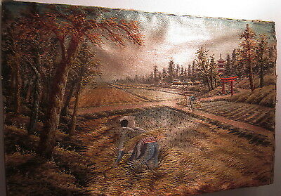 """Asian 12"""" x 18"""" Silk embroidery China worker Rice Fields Paddies Red Pagoda"""