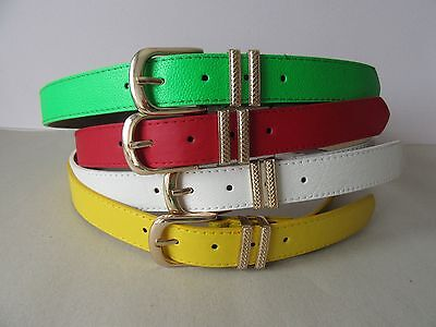 Ladies Womens Faux Leather with Gold Coloured Buckle Belt 3cm Wide