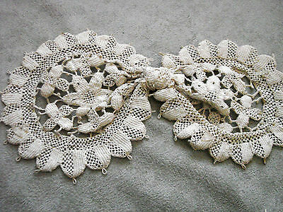 Vintage Collar BOW Crocheted Flowers Edwardian 20s Antique 4x8""