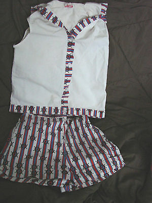 Vintage 60s Girls Childs NAUTICAL Shorts Top Set Cotton SAILOR 7-8 RWB