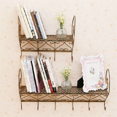 Vintage Metal Book Shelf Plant Stand Board Kitchen Storage with 4 Hooks Bronze