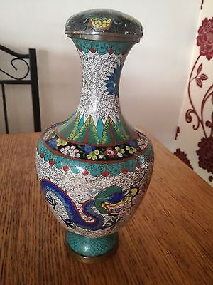 A Stunning Chinese Cloisonne Lidded Dragon Design Brass Lined Decanter