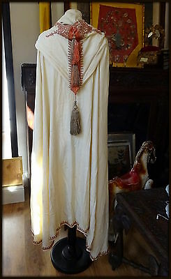 Antique 19thc Burnus Bedouin Cape Silk Couching Embroidery N Africa Algeria
