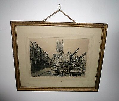 ANTIQUE EARLY ENGRAVING BY WILLIAM MONK b1863-1937 TITLED OLD WESTMINSTER