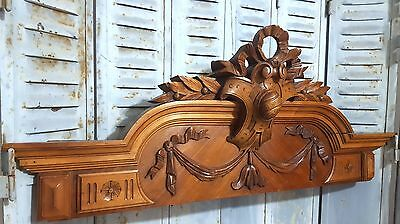 HAND CARVED WOOD PEDIMENT HUGE ANTIQUE FRENCH BOW LOUIS XVI SALVAGED CREST 19th