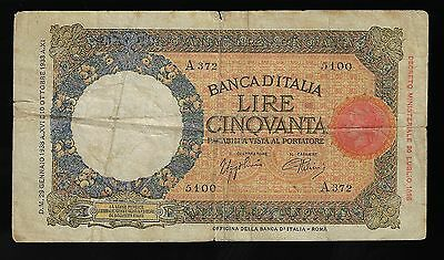 Italy 50 Lire 1938 Banknote P-54b