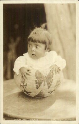 Yosemite Camp Curry Indian Child in Decorative Basket Real Photo Postcard
