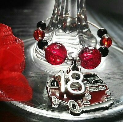 Cute Birthday Kombi Van Wine Glass Charms. 7 Colours To Choose From.