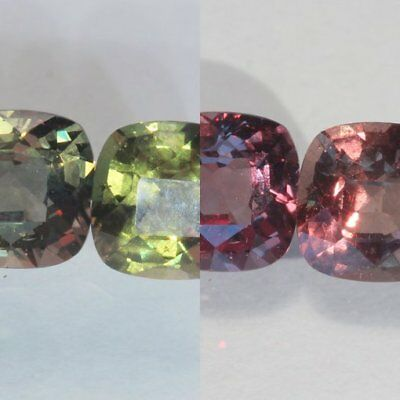 Pair Color Change Garnet Green Red Faceted 6×6 mm Square Cushion Gems 2.28 Carat