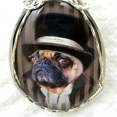 Pug Dog Glass Cameo Cabochon Pendant .925 Sterling Silver Animal Jewelry Brown