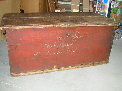 Red Paint Wash Primitive Pine Dovetailed Curved Top Lettering Rock Island IL