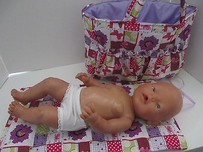 """Dolls Nappy Bag & Change pad, """" Patch with Flowers & Butterfly """"   SPECIAL"""