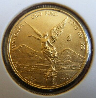 2010 Mexico 1/10 Oz 0.999 Pure Gold Coin