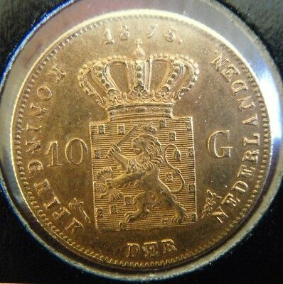 1875 Netherlands 10 Guilders 0.900 Pure Gold Coin