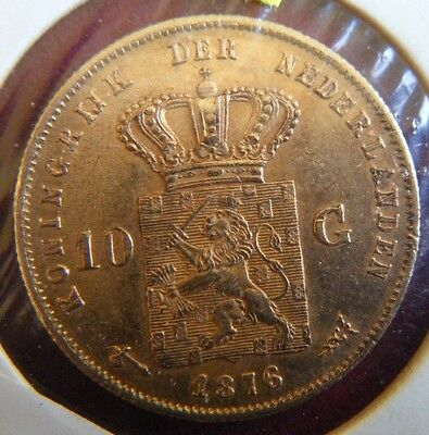1876 Netherlands 10 Guilders 0.900 Gold Coin