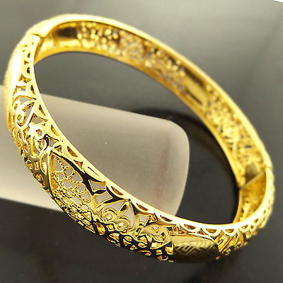 A278 Genuine Real 18K Yellow G/f Gold Ladies Vintage Hinged Cuff Bangle Bracelet