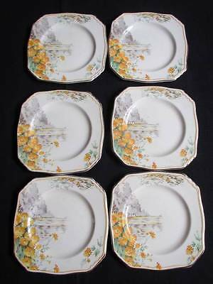 Royal Winton Grimwades 6 x Small Plates YELLOW MORN Excellent Condition #