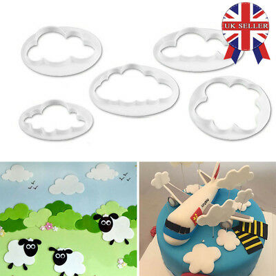 5x Fluffy Cloud Cookie Cutter Sugarcraft Mould Fondant Cake Decorating Mold Tool