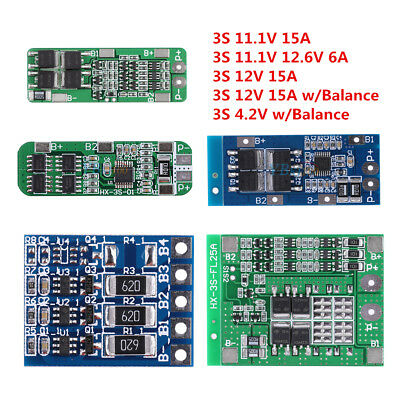 3S 4/6/15A 11.1V 12V Lithium Battery 18650 Charger PCB BMS Cell Protection Board