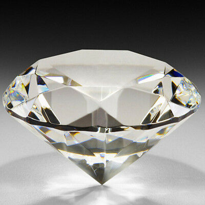 Large Crystal Clear Paperweight Faceted Glass Diamond Jewelry Decor 40Mm Rosy