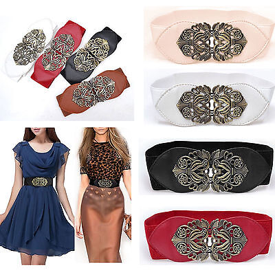 Retro Womens Stretch Elastic Buckle Wide Waist Belt Floral Metal Dress Waistband