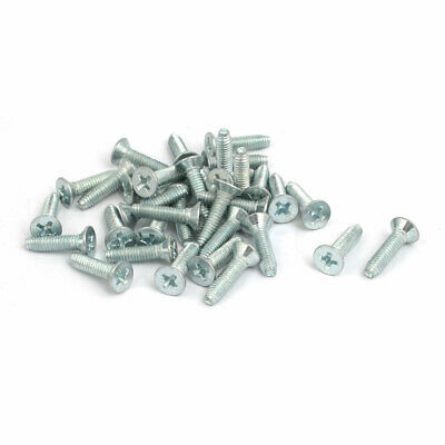 M4x16mm Countersunk Phillips Head Triangle Thread Screw Bolt Silver Blue 35pcs