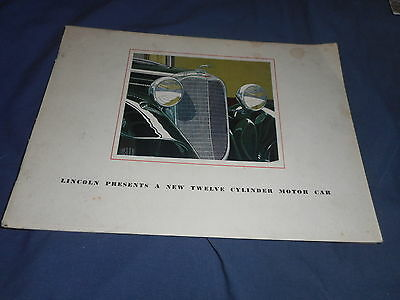 1933 Lincoln K 136 Wheelbase Color Brochure Catalog Prospekt