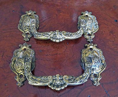Antique French L. Pinet Drawer Pulls, Ornate Brass Metal Chest Hardware Salvage