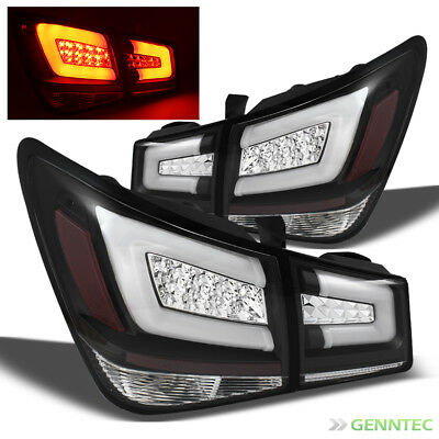 For 10-16 Cruze Black LED Perform Tail Lights Rear Lamps w/Red Light-Tube