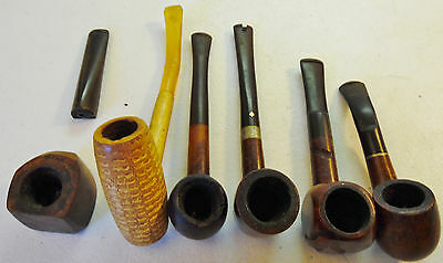 Vintage Estate Smoking Pipe Lot of 6 with Wood Holder